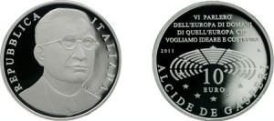 10 euro 130 anniversario De Gasperi