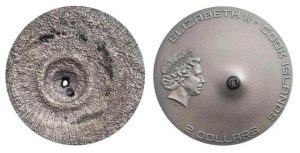 2 dollari 2016 in argento, isole Cook, meteorite Tamdakht