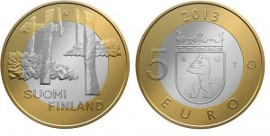 5 euro 2013  bimetallica (9,80 g, 27,25 mm), Finlandia Satakunta
