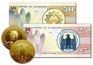 Banconote e monete di Atlantium.