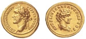 Aureo di 7,28 grammi coniato a Roma nel 140