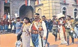 Nicola I del Montenegro nel giorno della sua proclamazione a re, Cettigne, 28 agosto 1910