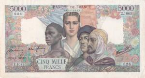 Francia, 5.000 franchi 1942-1947, mm 206 x 112, p. 42.