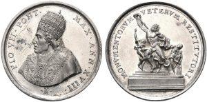La medaglia annuale dell'anno XVIII di pontificato di Pio VII