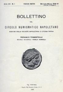 La copertina del Bollettino del Circolo Numismatico Napoletano, anno XII, n. 1 del 1931.