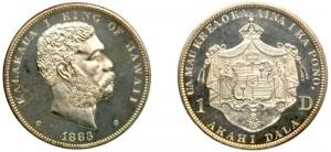 1 dala del 1883 delle Isole Hawaii