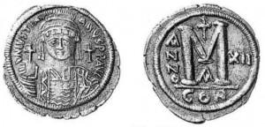 Follis di Giustiniano per Costantinopoli