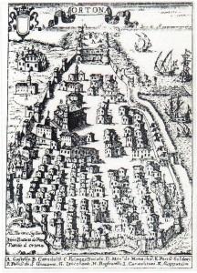 Veduta di Ortona, mappa del XVIII secolo di G.B. Pacichelli.