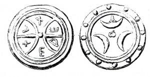 Disegno fronte retro di due fusi di Tuder riconosciuti falsi da Haeberlin