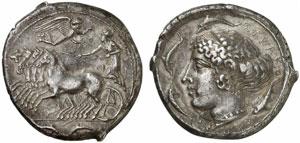 Sicilia, Siracusa, Tetradramma (databile tra il 415 ed il 405 a.C.).