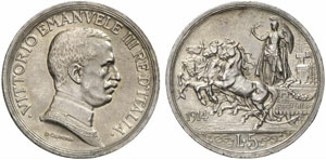 Regno d'Italia, Vittorio Emanuele III (1900-1946) 5 Lire 1914.
