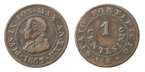 1 centesimo 1867 di Pio IX, Roma (da Artemide aste live 30 luglio 2014)