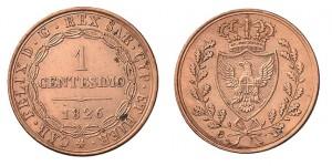 1 centesimo 1826 di Carlo Felice, Torino (ex asta INASTA 55)