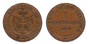 1 centesimo 1859 Vittorio Emanuele II re eletto, governo della Toscana