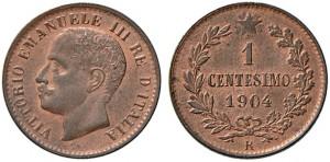 1 centesimo 1904 di Vittorio Emanuele III, tipo Valore, Roma