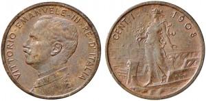 1 centesimo 1908 di Vittorio Emanuele III, tipo Italia su Prora, Roma