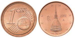 1 centesimo 2002 Italia, Mole Antonelliana, errore di conio