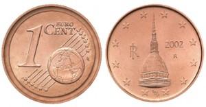 1 centesimo 2002 Italia, con Mole Antonelliana, errore di conio