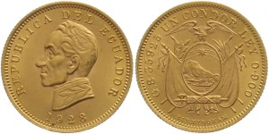 1 condor 1928 in oro (8,359 g), Ecuador
