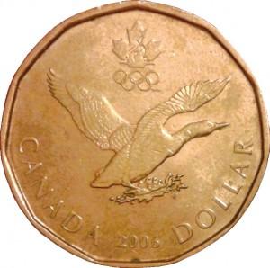 1 dollaro 2006 Canada, lucky loonnie, portafortuna per gli atleti canadesi ai goiochi invernali (da en.numista.com)