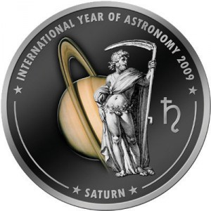 1 dollaro 2009 in rame placcato argento isole Cook, Saturno