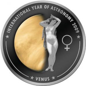 1 dollaro 2009 in rame placcato argento isole Cook, Venere