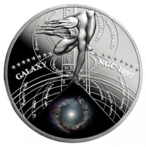 1 dollaro 2015 in argento Niue, galassia NGC 1097