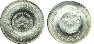 1 peso 1966 Messico, contromarca gonfalone pontificio