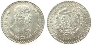 1 peso 1966 in argento, Messico