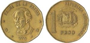 1 peso 2000 in ottone (6,58 g), Repubblica Dominicana (da en.numista.com)