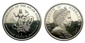 1 sterlina 2001 in lega do rame e nichel (28,5 g) Gibilterra, mitologia del sistema solare