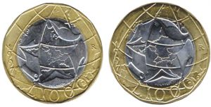 1.000 lire 1997 Italia turrita, confronto confini errati e confini giusti