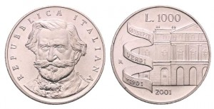 1.000 lire 2001 in argento (14,6 g, 31,4 mm) Italia