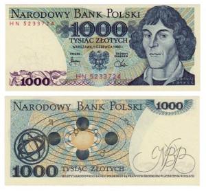 1.000 zlotych 1982 Polonia, Niccolï Copernico e sistema eliocentrico
