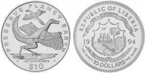 10 dollari 1994 in argento (Archaeopteryx), Liberia 31.1000 g