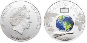 10 dollari 2012 in argento (nano earth), isole Cook