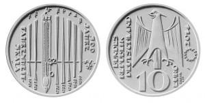 10 euro 2014 in argento (18 g, 32,5 mm) Germania, 300 anni della scala Fahrenheit