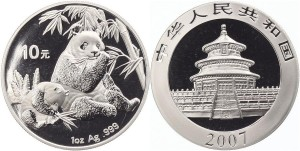 10 yuan 2007 in argento, 1 oncia
