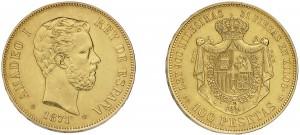 100 pesetas 1871 Amedeo I