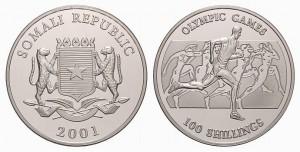 100 scellini 2001 in argento, Somalia