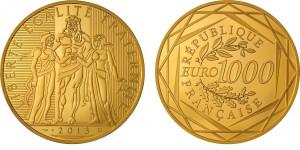 1000 euro 2013 in oro (17 g), Francia, Hercules
