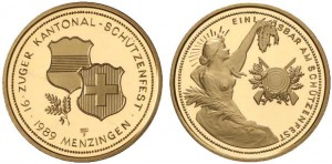 1000 franchi 1989 in oro (26 g, 30 mm) Zug, Svizzera, tiri Federali