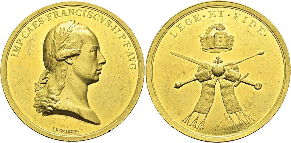 1046. Austria, Francesco II (1792-1835), medaglia da 15 ducati, s.d., per l'incoronazione (1792).