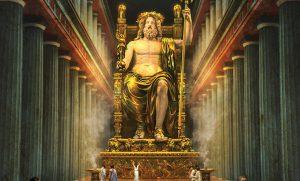 Ricostruzione dell'aspetto della statua crisoelefantina di Zeus
