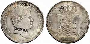 120 grana 1838 Napoli, due contromarche BOMBA