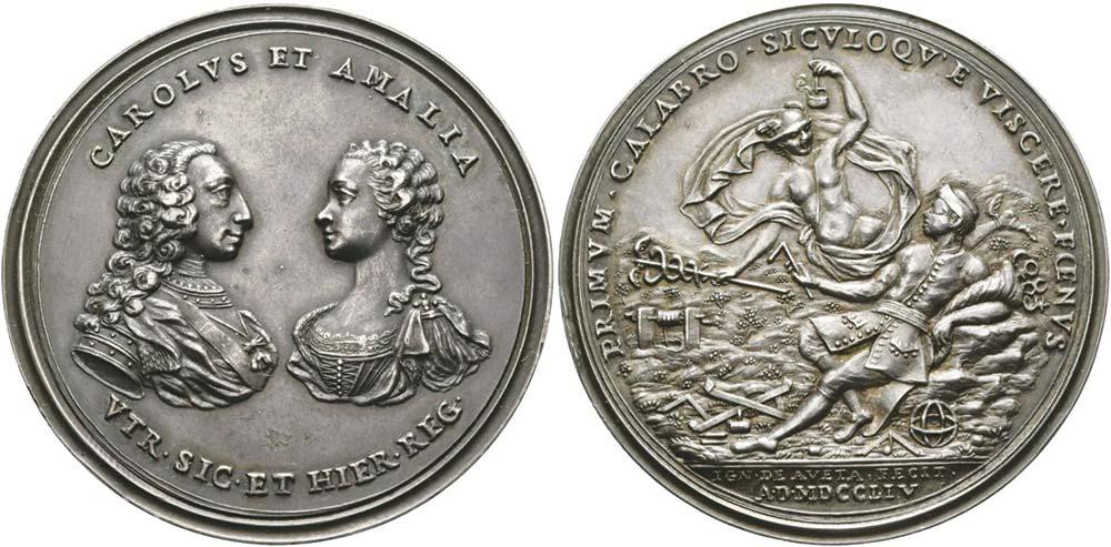 1265. Napoli, Carlo di Borbone (1735-1759), medaglia 1745, Sfruttamento delle miniere in Calabria.