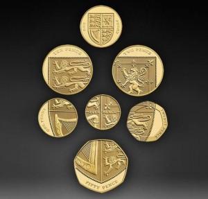 Spiccioli del Regno Unito  che formano l'illusione dello scudo araldico
