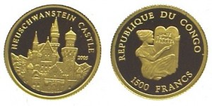 1500 franchi 2005 Congo, castello di Neuschwanstein