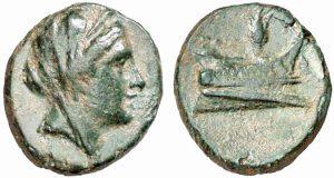 Moneta in bronzo (2,62 g) coniata a Rodi dopo il 226 a.C.