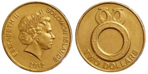 2 dollari 2012 in bronzo d'alluminio (10,37 g, 24,6 mm), isole Salomone